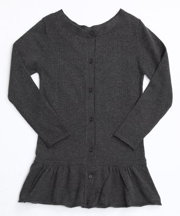 Charcoal Frill Bottom Cardigan
