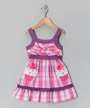 Pink Cupcake Plaid Dress - Toddler