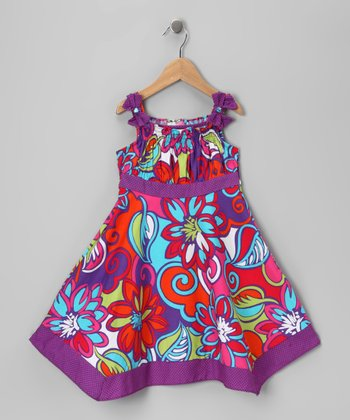 Purple Psychedelic Floral Dress - Toddler & Girls