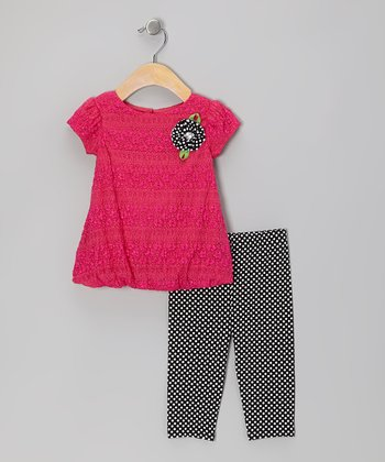 Pink Lace Tunic & Black Leggings - Infant