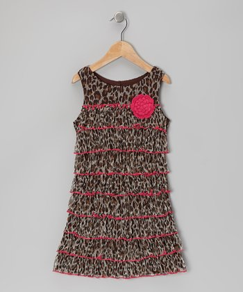 Brown & Pink Leopard Dress - Girls' Plus