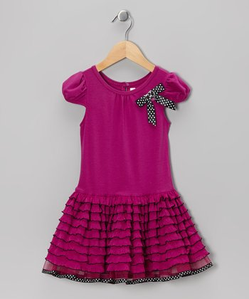 Fuchsia & Black Ripple Dress - Toddler & Girls