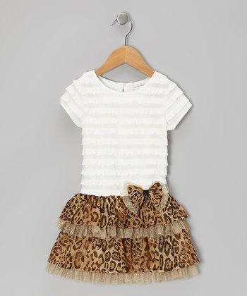 Brown & Cream Ruffle Leopard Dress - Toddler & Girls