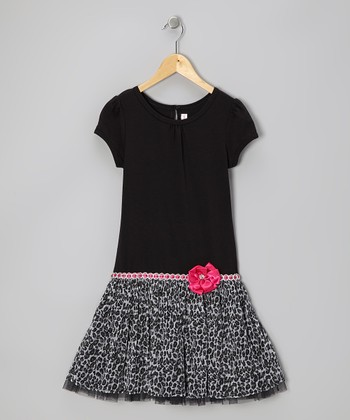 Black Glitter Leopard Dress - Toddler & Girls