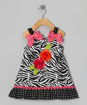 Black Zebra Bow Dress - Infant