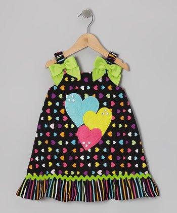 Black & Green Heart Dress - Toddler & Girls