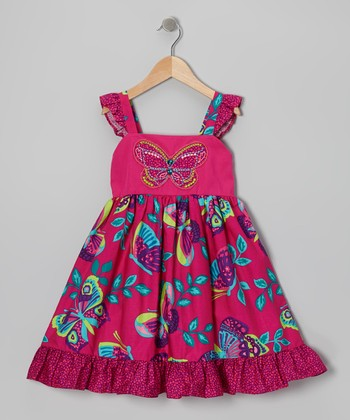 Fuchsia & Aqua Butterfly Dress - Toddler & Girls