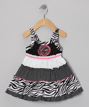 Black & White Ruffle A-Line Dress - Toddler & Girls