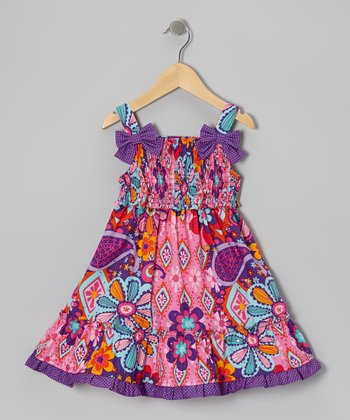 Pink & Purple Shirred Floral Dress - Girls