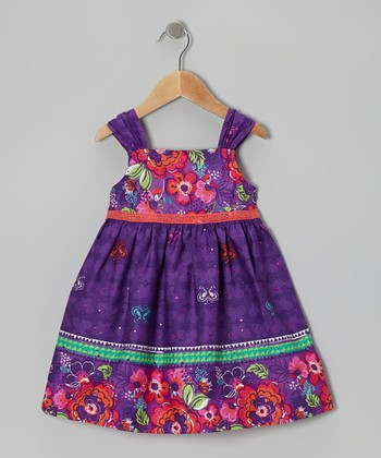 Purple Flower Buttercup Dress - Girls