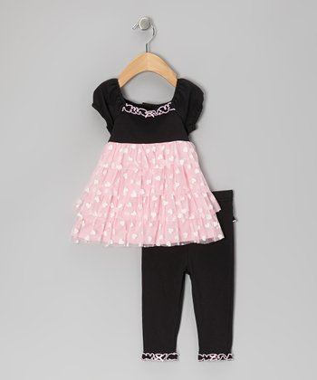Black & Pink Heart Tunic & Leggings - Infant