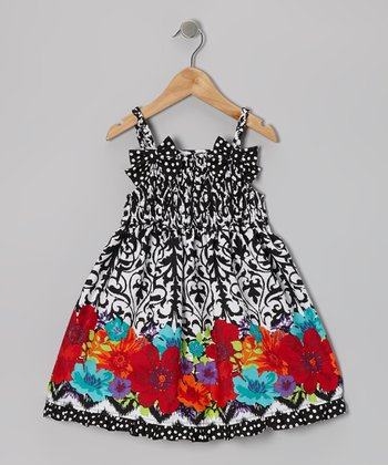 Black & White Damask Bow Dress - Girls