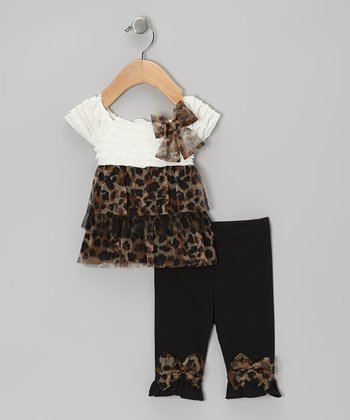White Leopard Tunic & Black Bow Leggings - Infant