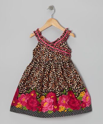 Brown Leopard Surplice Dress - Girls