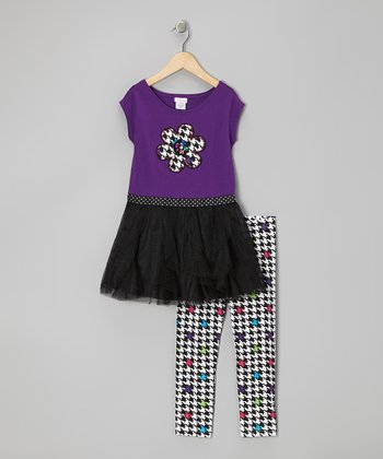 Purple Floral Tunic & Houndstooth Leggings - Toddler & Girls
