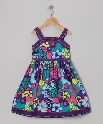 Turquoise & Purple Floral Dress - Infant