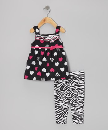 Black Heart Tunic & Zebra Leggings - Infant, Toddler & Girls