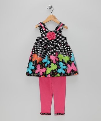 Black Butterfly Tunic & Pink Leggings - Infant, Toddler & Girls