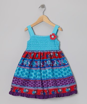 Turquoise & Purple Crocheted Flower Dress - Girls