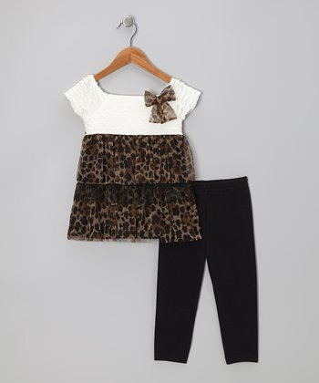 White Leopard Tunic & Black Leggings - Toddler & Girls