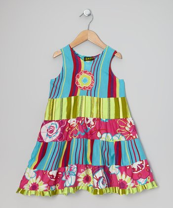Turquoise & Pink Cinderella Tiered Dress - Infant, Toddler & Girl