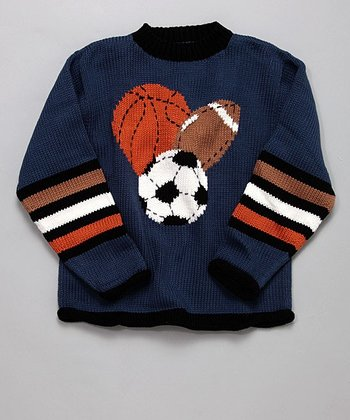 Navy Stripe Sports Sweater - Boys