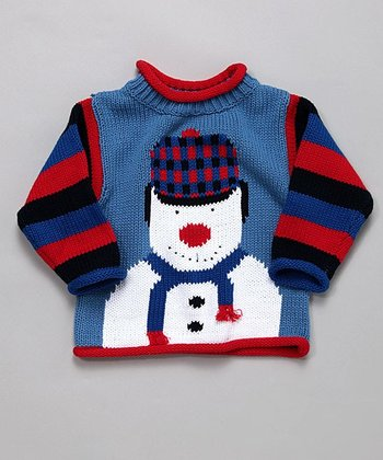 Royal Blue & Red Snowman Sweater - Infant