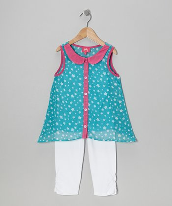 Turquoise Star Layered Tunic & White Leggings - Toddler & Girls