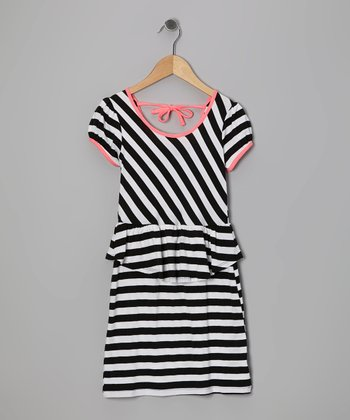 Black & White Stripe Dress - Girls