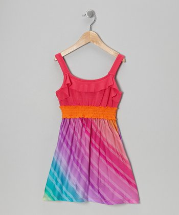 Rainbow Stripe Dress  - Girls