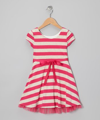 Fuchsia Stripe A-Line Dress - Girls