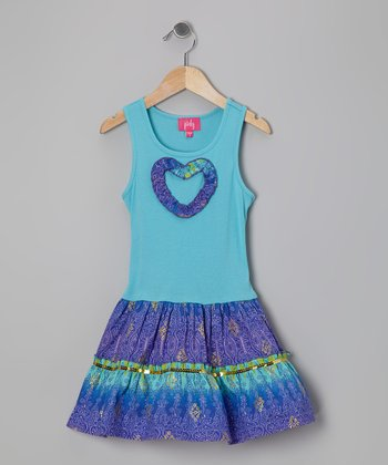 Turquoise Heart Dress - Girls