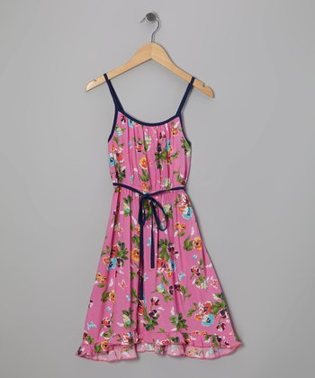 Pink & Blue Floral Dress - Girls