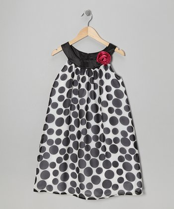 Black Polka Dot Yoke Dress - Girls