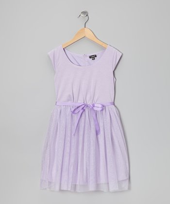 Lilac Glitter A-Line Dress - Girls