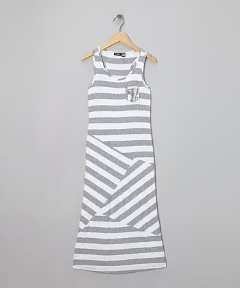 White & Gray Stripe Maxi Dress - Girls