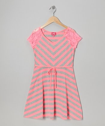Neon Pink & Gray Stripe Dress - Girls