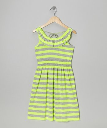 Neon Yellow & Gray Stripe Dress - Girls