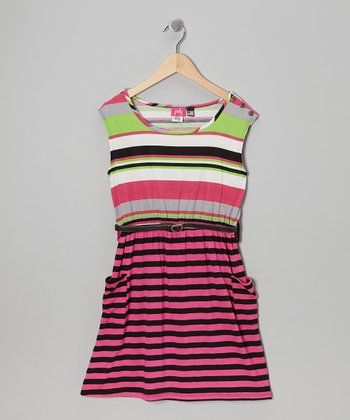 Pink & Black Stripe Dress - Girls