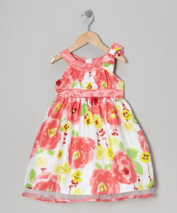 Coral Floral Bow Dress - Toddler & Girls