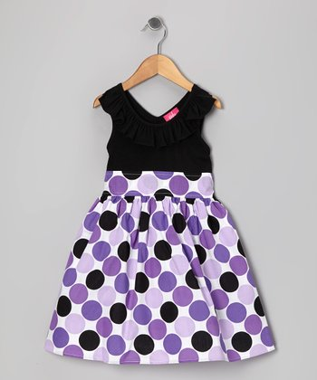 Purple & Black Polka Dot Dress - Girls