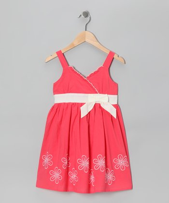 Coral Daisy Surplice Dress - Girls