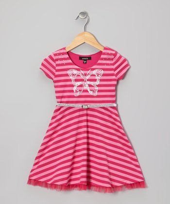 Fuchsia Stripe Jewel Butterfly A-Line Dress - Girls