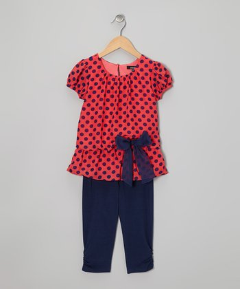 Coral Polka Dot Tunic & Navy Leggings - Toddler & Girls