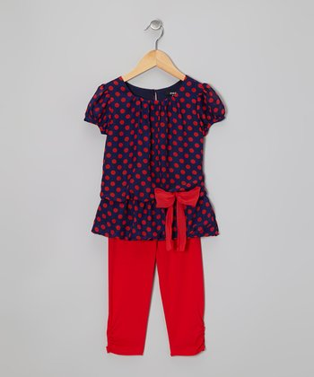 Navy Polka Dot Tunic & Red Leggings - Toddler & Girls