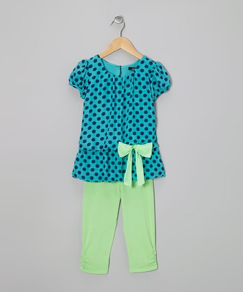 Turquoise Polka Dot Tunic & Green Leggings - Toddler & Girls