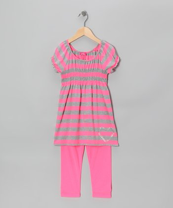 Heather Gray & Pink Stripe Tunic & Leggings - Girls