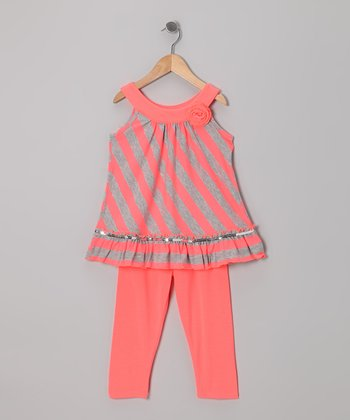 Coral & Gray Stripe Tunic & Leggings - Girls