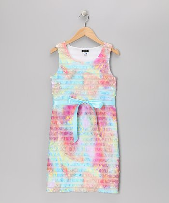 Rainbow Tiered Ruffle Dress - Girls
