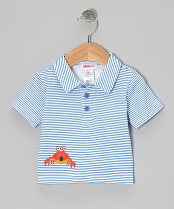 Periwinkle Stripe Crab Walk Polo